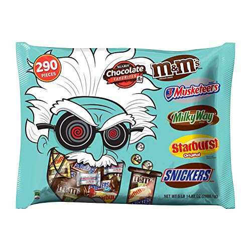 Mars Halloween Candy in Mad Scientist Bag (290 ct.) BITE SIZE Assortment with M&M's, 3 Musketeers, Milky Way, Starburst and Snickers
