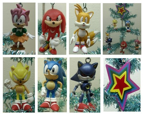 Sonic the Hedgehog Set of 7 Holiday Christmas Tree Ornaments Featuring Tails, Knuckles, Super Sonic, Sonic, Amy, and Metal -