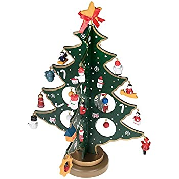 Prudance Wooden Desk Christmas Tree 112 Inch Tall With 25 Piece Miniature Decorations Perfect For Office