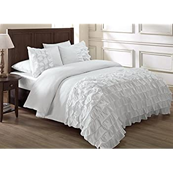 set lace queen duvet cover cotton comforter luxury bedding holiday white ruffle item