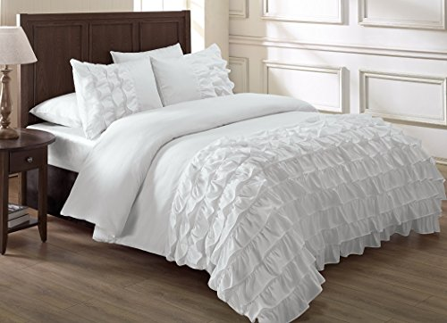 Chezmoi Collection Ella 3-piece Ruffle Waterfall Comforter Set (Full, White)