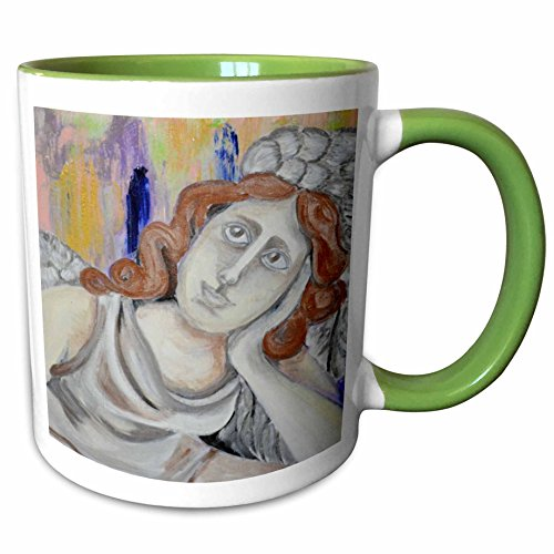 3dRose Melissa A. Torres Art Figurative - An abstract painting of angel looking up at the sky - 15oz Two-Tone Green Mug (mug_128260_12)