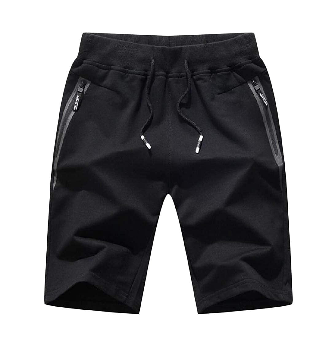 Etecredpow Mens Flat-Front Big and Tall Pure Color Summer Beach Sport Shorts