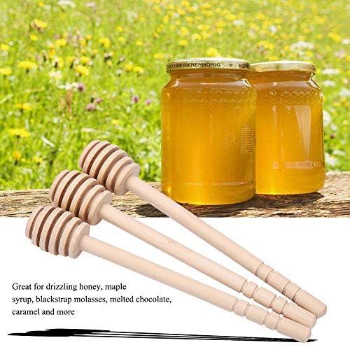 24ピース蜂蜜ドリッパー、木製蜂蜜ドリッパー攪拌ロッドジャムシロップDrizzlerスティックサーバーキッチンガジェット収集ディスペンス蜂蜜ツール(6つのスロット)