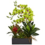 Nearly-Natural-Dendrobium-Orchid-and-Bromeliad-Silk-Arrangement-Green