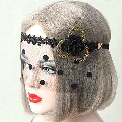 Hihappiness Halloween Women Sexy Black Lace Gauze Mask Headband Hair Bands Makeup Prom Party Elegant Headwear -
