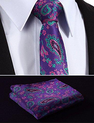cm Square Men's And Purple Pink 75 Green in Necktie Width inches Floral HISDERN 7 2 Necktie Set Pocket 6dwCxqX