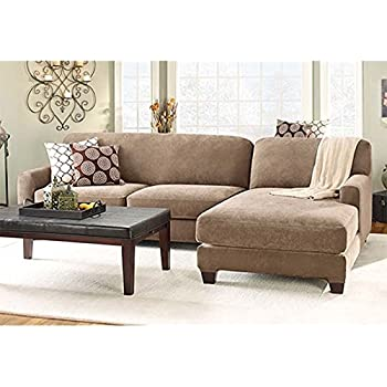 Stretch Pique Sectional with Side Chaise Cover  sc 1 st  Amazon.com : chaise sofa cover - Sectionals, Sofas & Couches