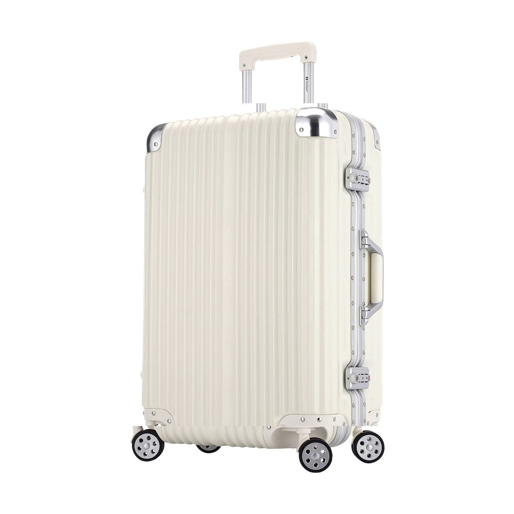 [トラベルハウス]Travelhouse スーツケース キャリーバッグ アルミフレーム ABS+PC 鏡面 超軽量 TSAロック B01LX8VNLX M ホワイト(Bタイプ) ホワイト(Bタイプ) M