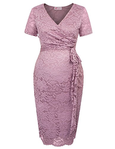 Women's Maternity Floral Lace Nursing Hips-Wrapped Dress 1003 Lilac ()