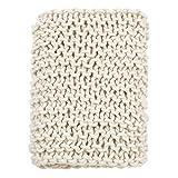 SARO LIFESTYLE TH551.I5060 Sevan Collection Chunky Knit Throw, 50'' x 60'', Ivory