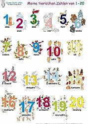 Meine tierischen Zahlen von 1-20. Poster: Deutsch