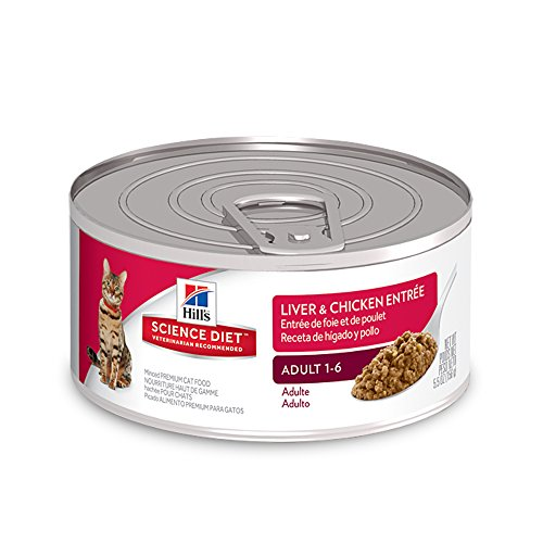HillS Science Diet Adult Wet Cat Food, Liver & Chicken Entrée Canned Cat Food, 2.9 Oz, 24 Pack