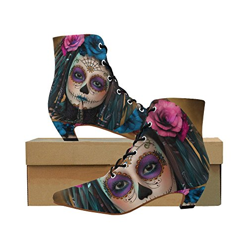 D-Story Shoes Sugar Skull Day of The Dead Women's Pointed Toe Low Heel Booties