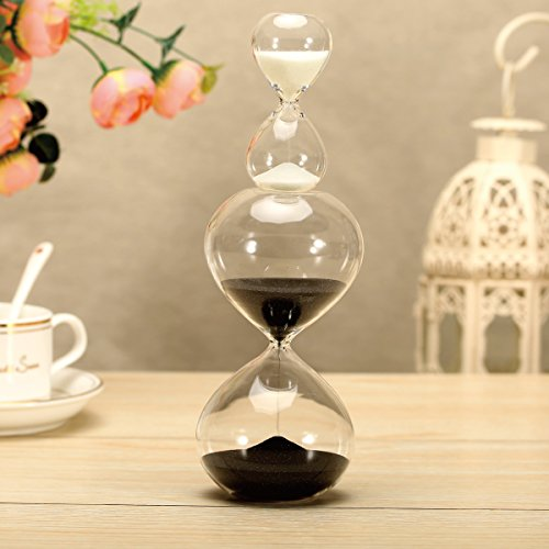 Sand Timer/hourglass Set of 2 For Time Management - Biloba Glass, 30 Minute ( or 60 Minutes ) + 5 Minute Set , 2 Options Choice , Work & Play - for your home & office decoration