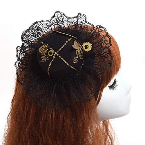 Steampunk Gear Wing Lace Hat Hair Clip Gothic Hairpin Headwear Vintage (Chip Stick Pin)