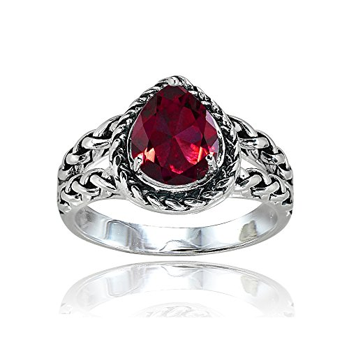 Ice Gems Sterling Silver Created Ruby Pear-Cut Oxidized Rope Split Shank Ring, Size 7