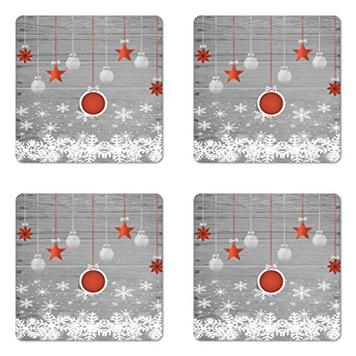 Ambesonne Christmas Coaster Set of 4, Traditional Celebration Theme with Pendant Stars Baubles Ornate Snowflakes, Square Hardboard Gloss Coasters for Drinks, Standard Size, Grey Orange