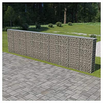 """HomyDelight , Gabion Wall with Covers Galvanized Steel 236""""x11.8""""x59"""""""