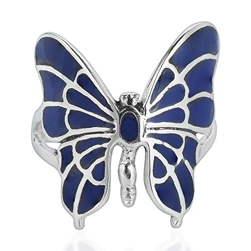 AeraVida Exotic Graceful Butterfly Simulated Lapis-Lazuli Inlay .925 Sterling Silver Ring (9)