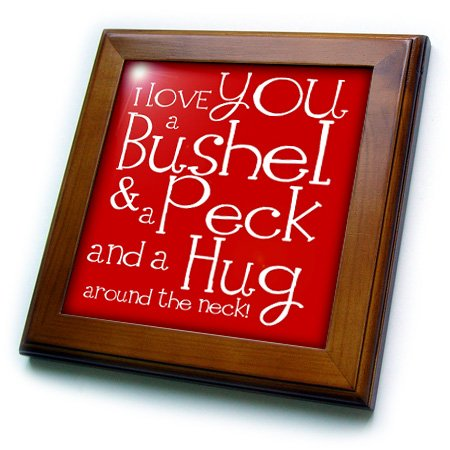 3dRose ft_193475_1 I Love You a Bushel and a Peck. Red. Framed Tile, 8 by 8-Inch