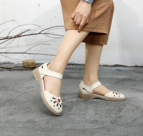 Zapatos Aire Zapatos Verano Mujeres de al Beige Libre Las Señoras de Retro Zapatos Las Sandalias Nuevos del bajo de Perezosos Cuero del Talón AR7qwWz
