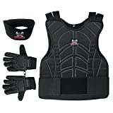 Maddog Sports Padded Chest Protector, Full Finger Tactical Gloves, & Neck Protector Combo Package - Black - Large / X-Large