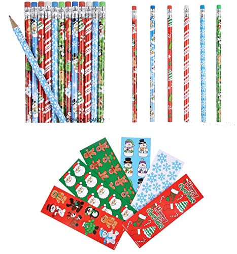 Cute Set of 60 Christmas/Holiday Party Favors ~ 1 Dozen (12) Christmas Pencils & 48 Holiday Sticker Sheets ~ Favors Craft Giveaways Classroom Teacher Student Rewards Prizes ()