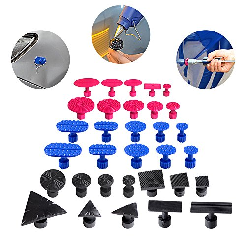 Super PDR 32Pcs Suction Cup Glue Tabs Dent Pulling Glue Tabs Spiral Crease Tabs Auto Body Dent Repair Tools Works with All Glue Pullers