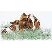 Thea Gouverneur 32 Count Brown Cow on Linen Counted Cross Stitch Kit, 17.75 x 27.5 by Thea Gouverneur