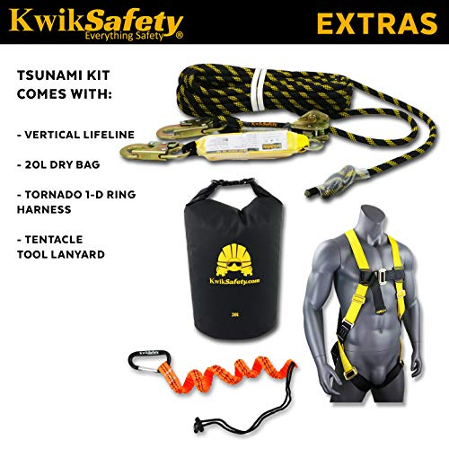 KwikSafety (Charlotte, NC) TSUNAMI Kit Vertical Lifeline Assembly 50 ft. Rope Snap hook Integrated Shock Absorber Dry Bag for Gear/Equipment | ANSI OSHA Personal roofing Fall Protection Arrest System by KwikSafety (Image #2)
