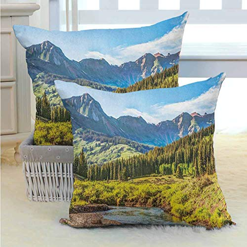 Landscape Decorative Cushion Covers Mountain Vista Thick Forest Trees Mountain Flowing River Grass Cloudy Sky Valley Breathable Silky Ultra Soft for Sofa Couch Living Room Decor 2PCS Multicolor - (Vista Sofa Valley)