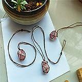Natural Raw Rose Quartz Crystal Pendant Necklace