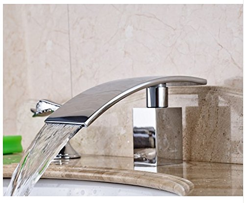 Gowe Bathroom Sink Faucet With Dual Handles Widespread 3pcs Waterfall Spout Mixer Tap Chrome Polished 4