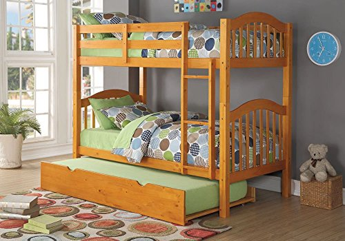 Simple Relax 1PerfectChoice Heartland Youth Kid Twin Over Twin Bunk Bed Convertible Bottom Trundle Honey Oak - Honey Oak Dresser