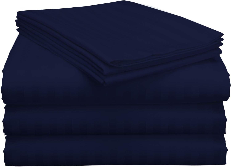Split King Sheet Sets for Adjustable Beds Deep Pocket, Twin XL Fitted Sheet Sets for Adjustable Bed Split King 100% Extra Long Staple Cotton Deep Pocket Sheets 10-18 Inches Navy Blue Stripe
