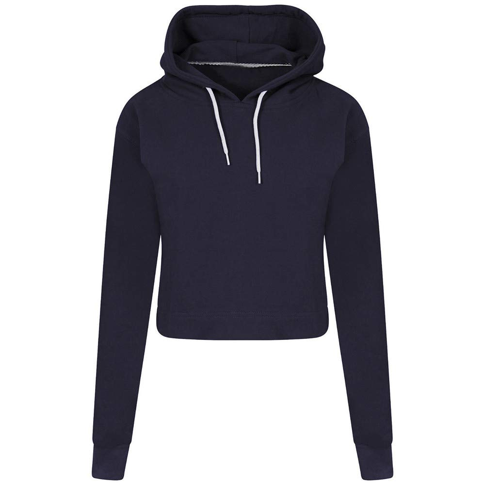 Long Sleeve Solid Hoodie Loose Casual Crop Drawstring Pullover Tops Blouse Rambling Women Midriff Sweatshirt