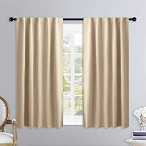 NICETOWN Window Treatment Curtains Room Darkening Drapes - (Biscotti Beige Color) 34 Width X 45 Drop Each Panel, 2 Panels Set, Curtains and Draperies for Kitchen