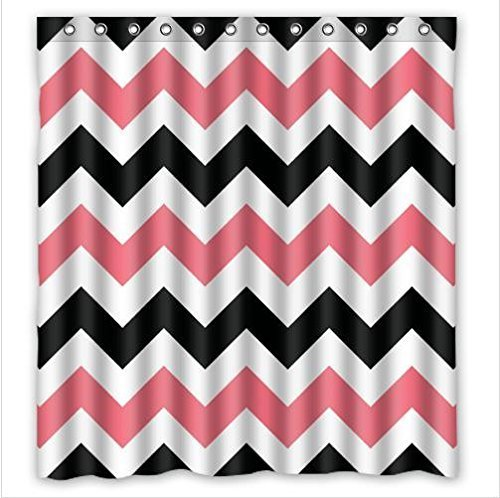 Lawrence Black Pink Chevron Waterproof Bathroom Fabric Shower Curtain With Rings,Bathroom Decor 66x72 inch (Pine Cone Fabric Shower Curtain)