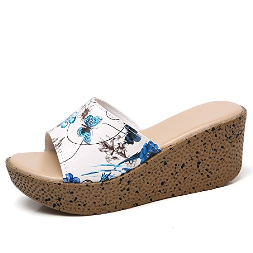 6019 Vamp Toe Gold Open Flower Leather Blue Shoes Women Platform Cloud Sandals Comfort ZTg1Aq