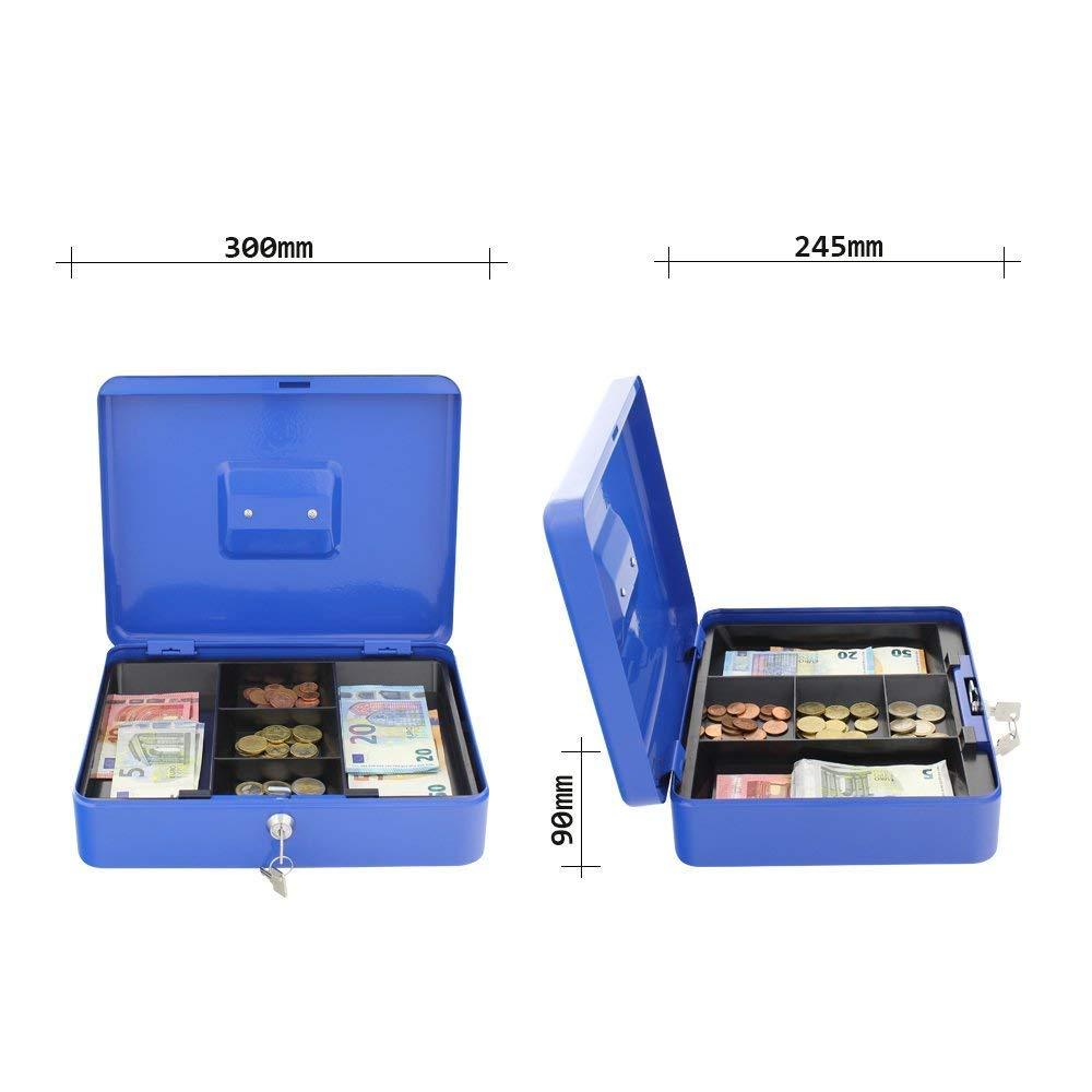 Rottner Geldkassette Traun 4 Blau Kasse mit unterteilten Geldeinsatz Zylinderschloss Geldz/ählkassette