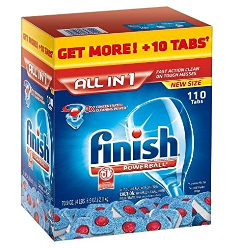 Finish All in 1, Super Charged Power Balls, Ultra Concentrated Dishwasher Detergent Tablets, 110 Count ()