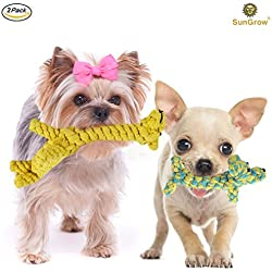 2 Cotton Rope Knot Dog Toys by SunGrow - Durable & Handwoven - Dynamic Duo of Gaby the Giraffe & Daisy the Dog - Soft, Nontoxic Chew Items: Helps Maintain Healthy Teeth and Gums
