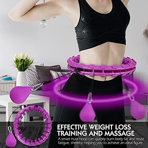 Smart Fitness Reifen Hula-Hoop Reifen Fällt Nicht - Einstellbar Fitnessreifen 24 Abnehmbare Teile, Hoop Fitness mit Massagenoppen, Hoola Hoop für Erwachsene Anfänger zum Gewichtsverlust und Fitness