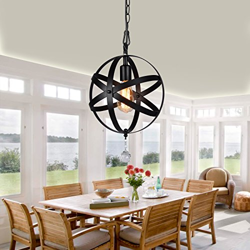 HMVPL Plug-in Industrial Globe Pendant Lights with 16.4 Ft Hanging Cord and Dimmable On/Off Switch, Vintage Metal Spherical Lantern Chandelier Ceiling Light Fixture by HMVPL (Image #1)