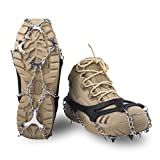 Springk Traction Cleats Snow Grips Ice Creepers,Anti Slip 12 Stainless Steel Microspikes Crampons 1 Free Portable Bag Men Women Walking Jogging Hiking Mountaineering(Black, Medium)