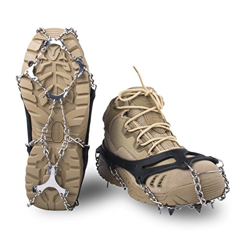 Springk Traction Cleats Snow Grips Ice Creepers,Anti Slip 12 Stainless Steel Microspikes Crampons with 1 Free Portable Bag for Men Women Walking Jogging Hiking and Mountaineering(Black, Medium)
