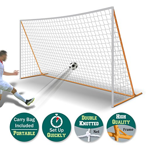 BenefitUSA 12' x 6' Portable Soccer Goal Football Goal Sport Training Sets Quick Set-Up (white net)
