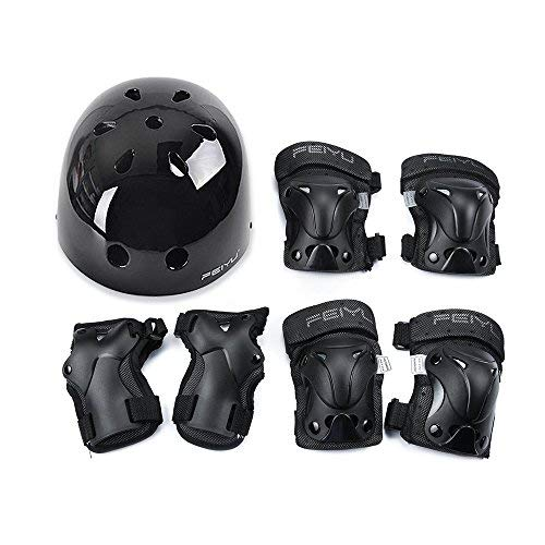 (Weanas Kids Youth Adjustable Sports Protective Gear Set, Safety Pad Safeguard (Helmet Knee Elbow Wrist Pads) (Black, XS) )