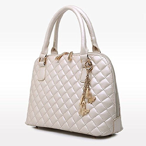 Lady Fashion Diamond 5 Unids Conjuntos Bolso De Mano Bolso De Cuero De La Pu Satchel Bolso Crossbody Bolsas Para Mujeres Multicolor Beige